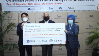 Photo of South Korean entity Anguk Zen Center donates 1 lakh masks to TVS Motor for free distribution